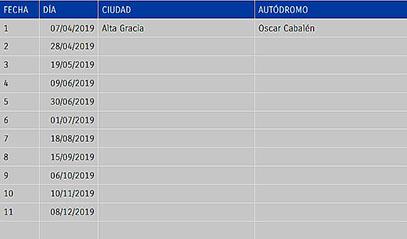 Calendario tc 2019